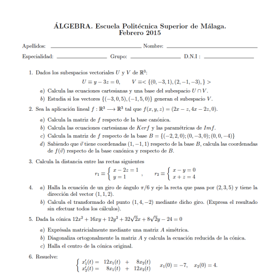 enunciado algebra febrero 2015